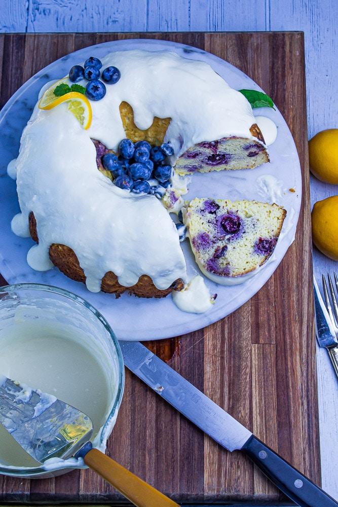 Low Carb Lemon Blueberry Bundt Cake