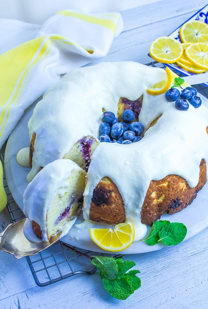 Low Carb Lemon Blueberry Bundt Cake