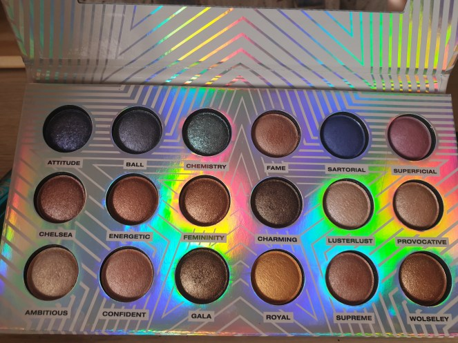 Make up product - Close up of the eye shadow palette showing the shimmery colours