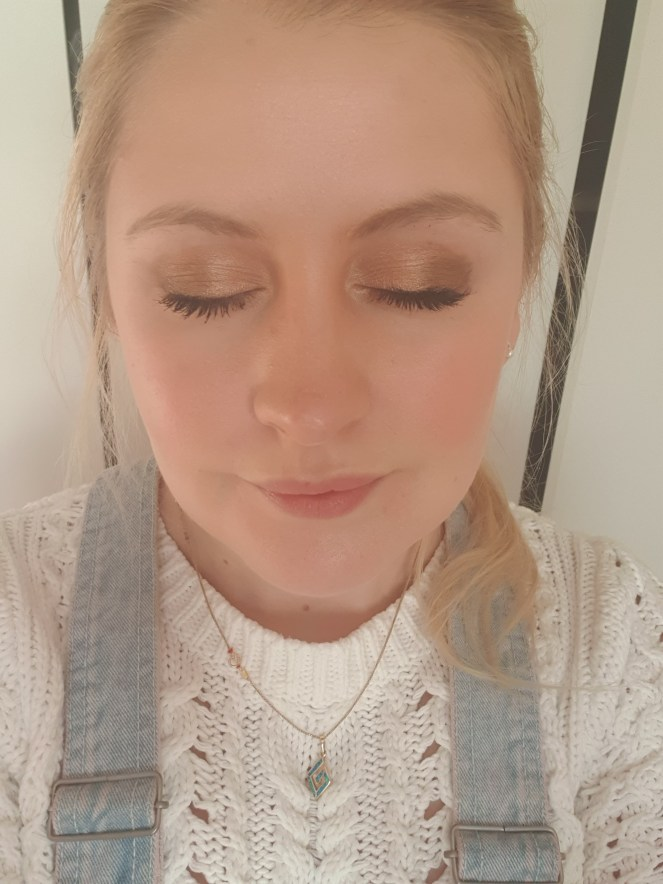 Showing the eyeshadow on my eye lids and make up look so far