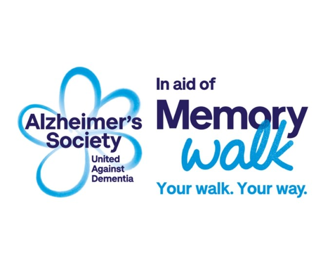 Alzheimer's Society Memory walk logo with blue forget me not flower