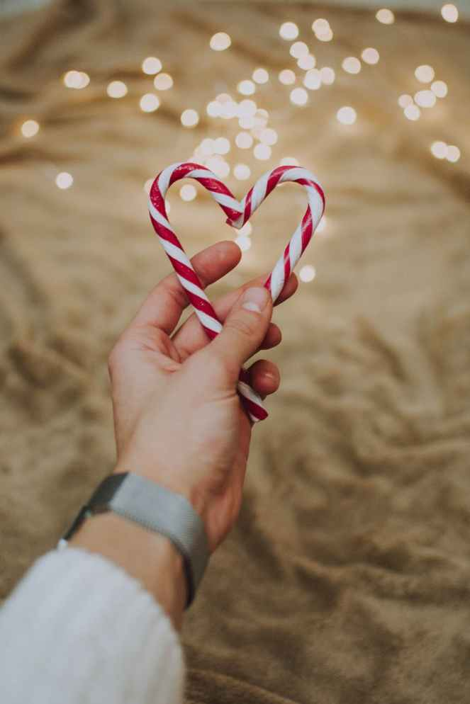 Christmas Memories - red and white heart shaped candy