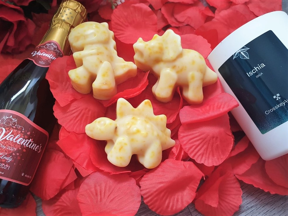 Valentine's Day Gift ideas showing champers bootle, dino soaps and candle