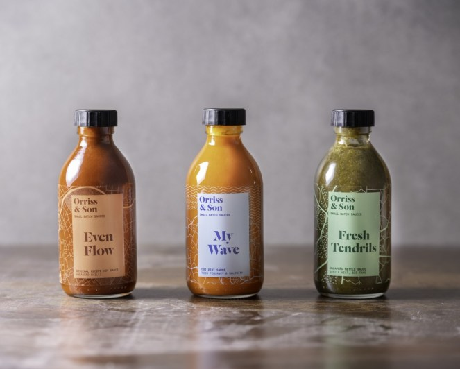 Image of thee sauce bottles from Orriss & Son as a valentine's day gift guide option