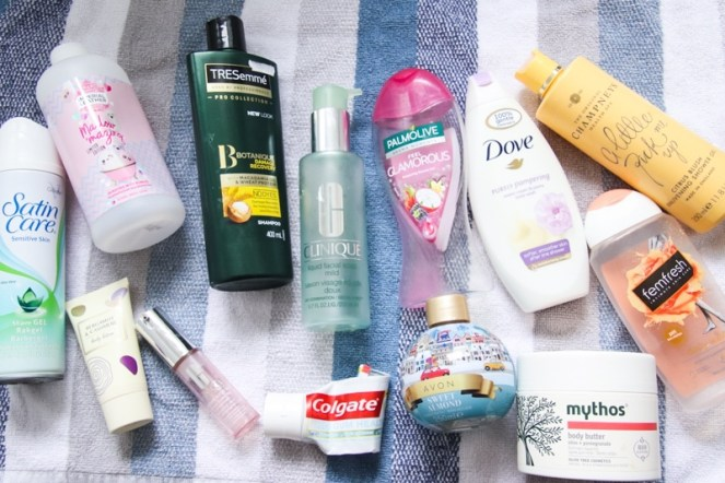 Flatlay of all the products mentioned within the products I've been using post.