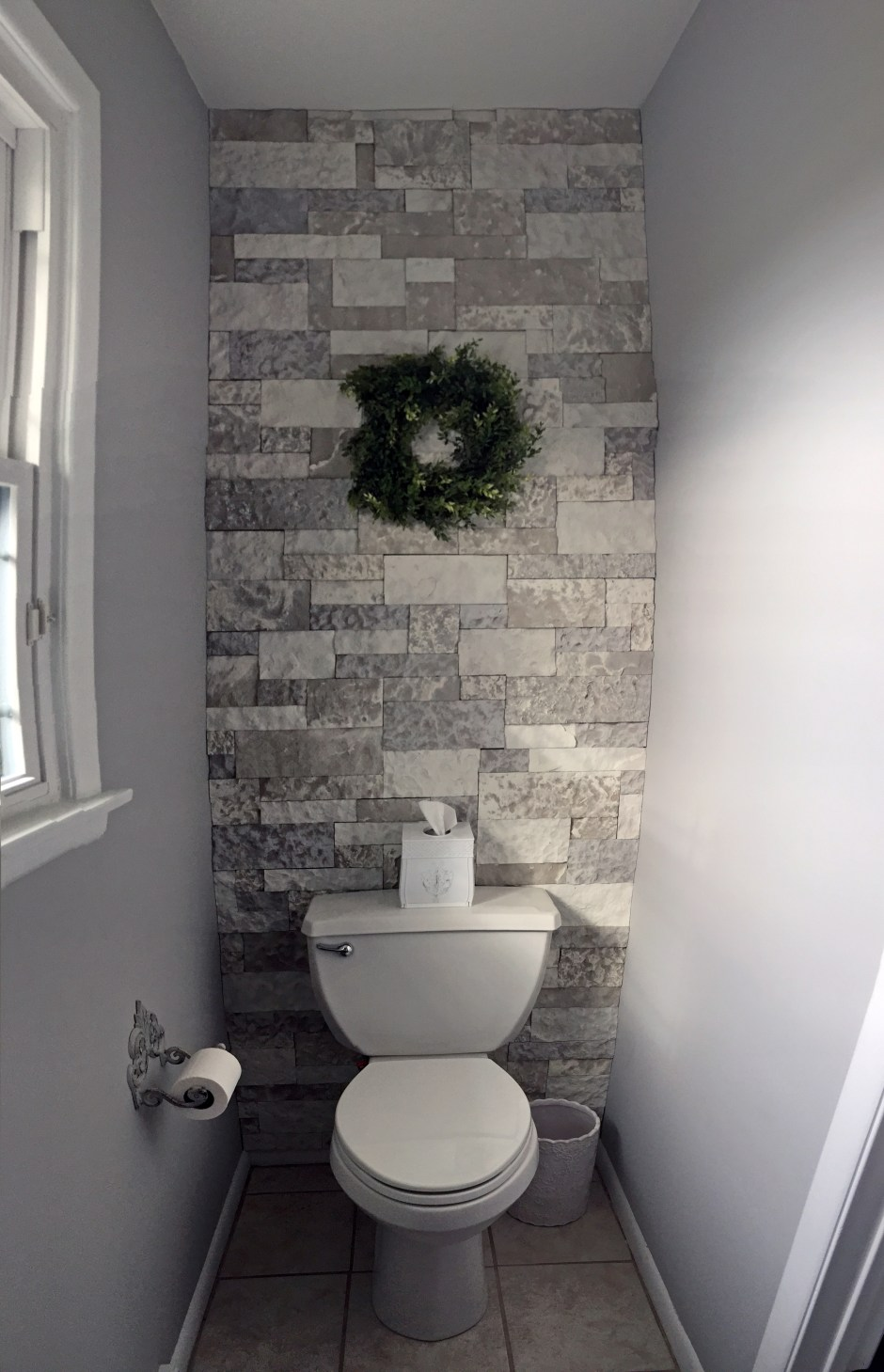 French Country bathroom, farmhouse bathroom, gray white bathroom, AirStone accent wall