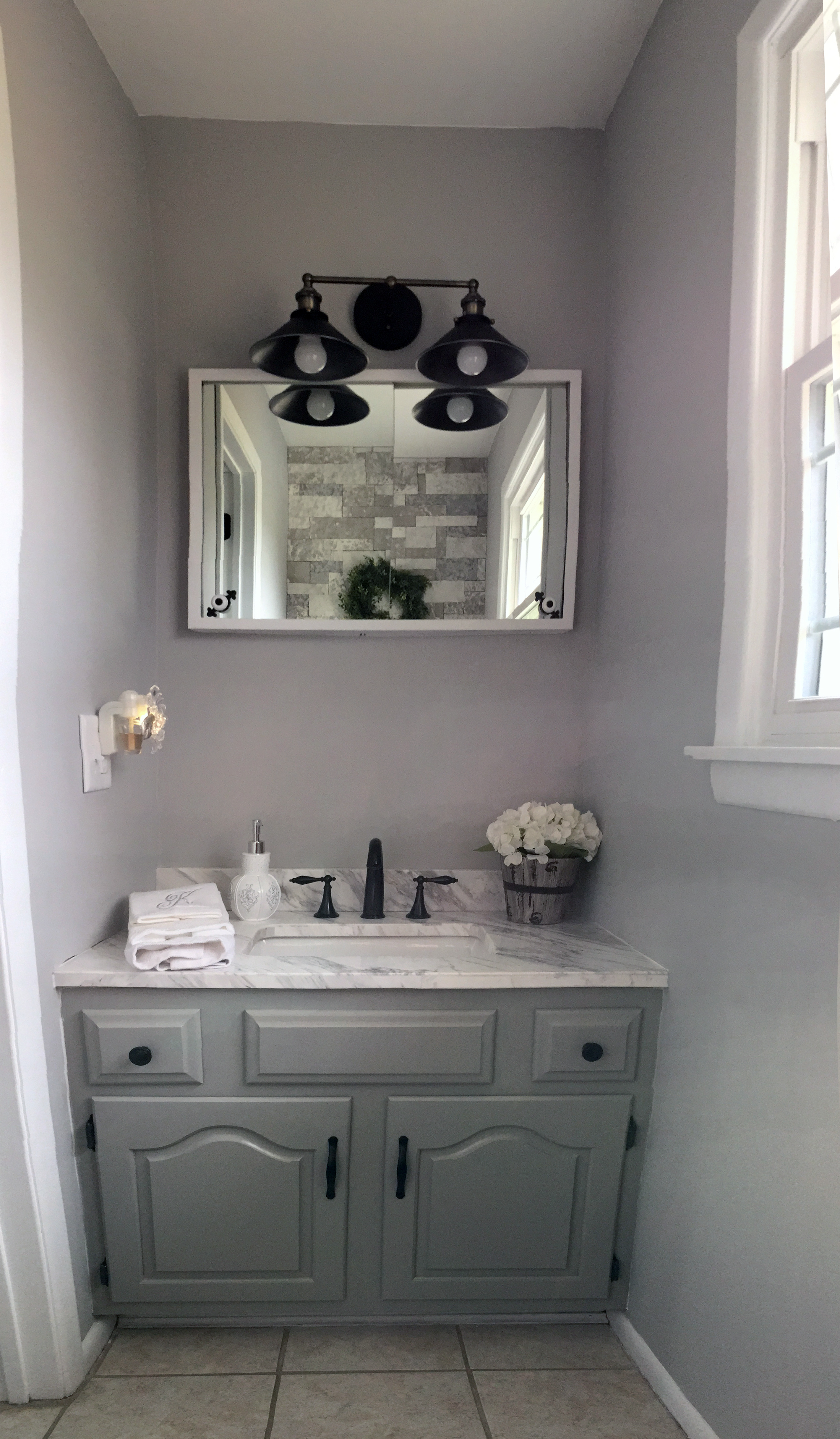 Transforming warm to cool colored rooms our french - Accent color for gray and white bathroom ...