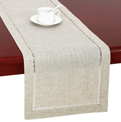 Handmade Hemstitched Natural Rectangle Lace Table Runners (14x48 inch)