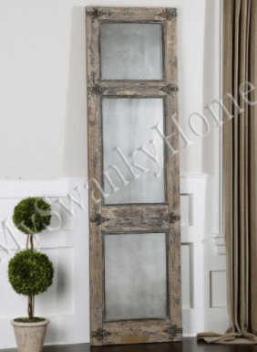 Antiqued Rustic Blue Gray Wood Wall / Floor Mirror Smoked