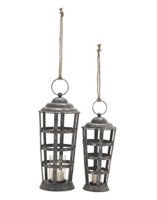Deco 79 87962 Beautiful Metal Glass Candle Lantern, Set of 2