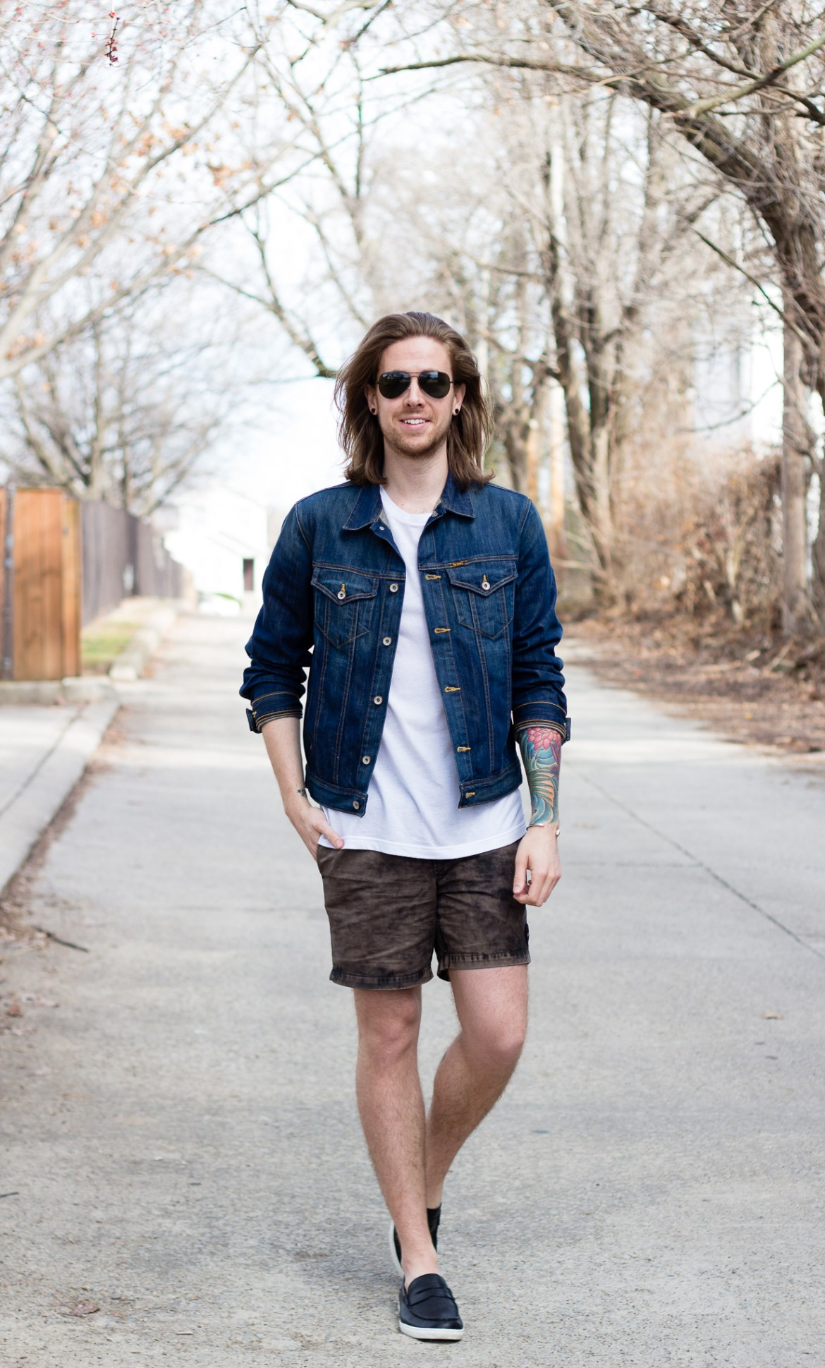 Big Star Denim Jacket and RVCA Shorts worn by The Kentucky Gent