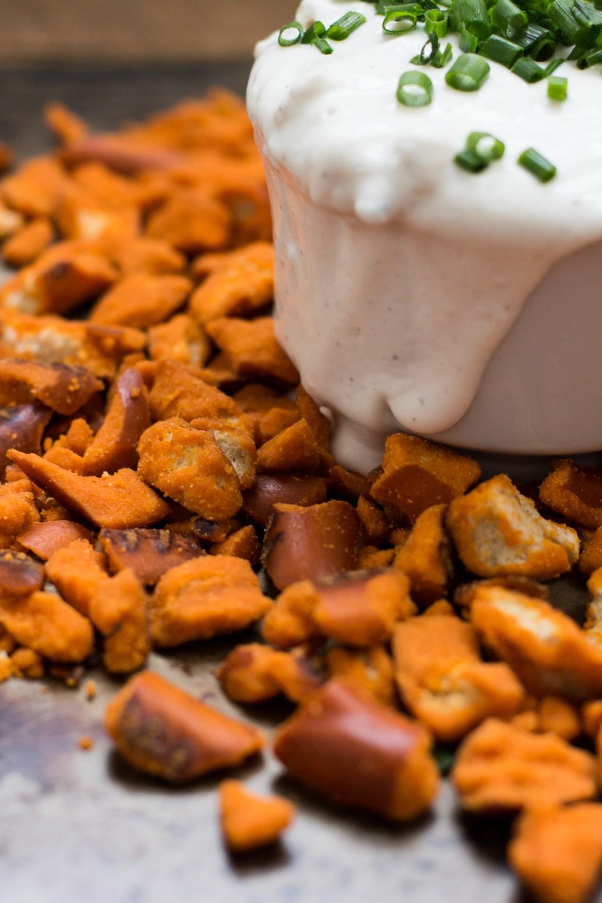 bleu cheese dip, buffalo flavored pretzels, game day dips, snyders of hanover, greek yogurt dips