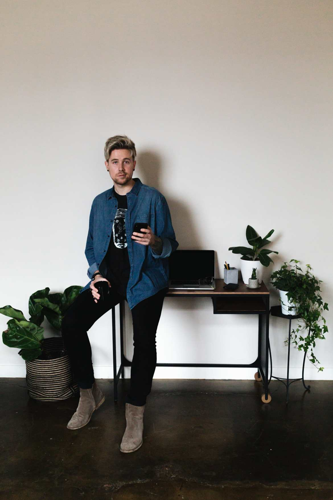 male blogger in home office