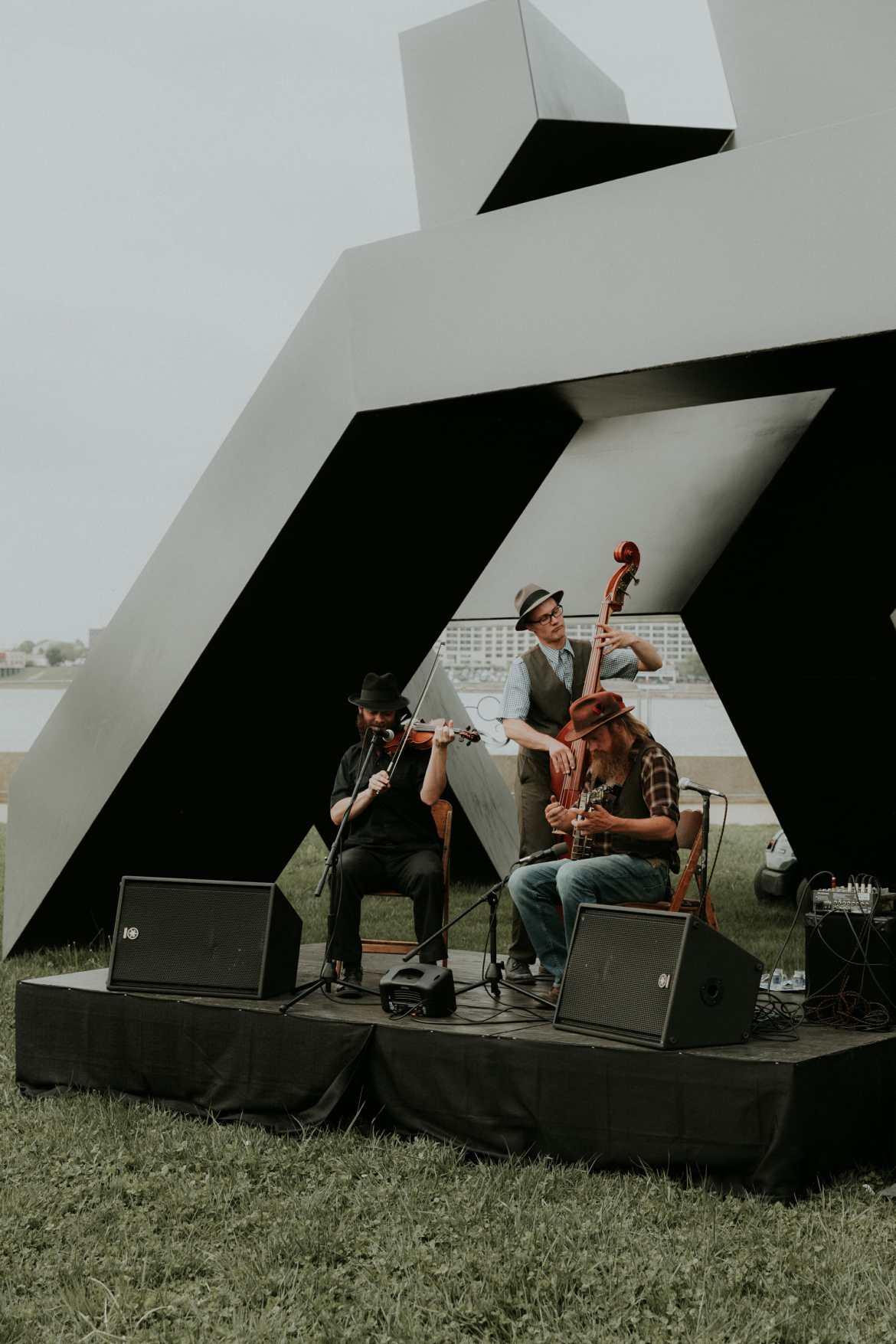 band playing at waterfront park