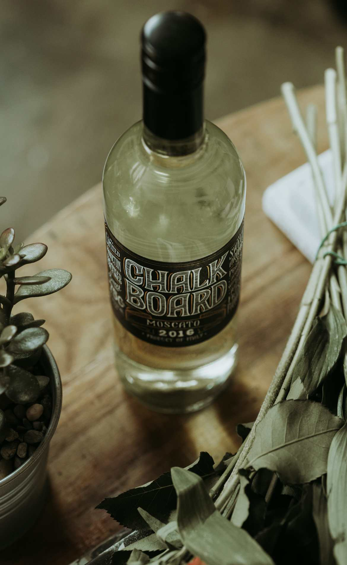 chalk & board bottle of wine