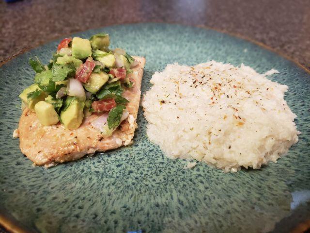 Salmon with avocado salsa