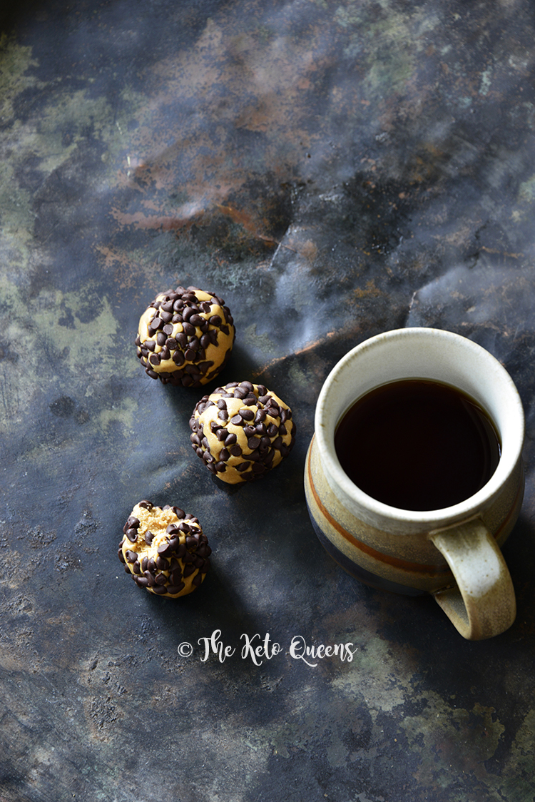 3-Ingredient Keto Chocolate Peanut Butter Protein Bites with Coffee