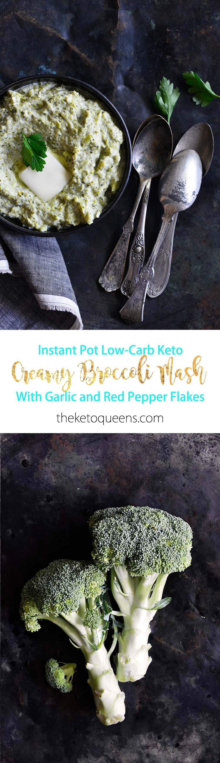 Instant Pot Keto Creamy Garlic Broccoli Mash Long Pin