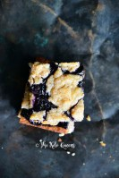 Top View of Low-Carb Fathead Blueberry Cobbler Bars