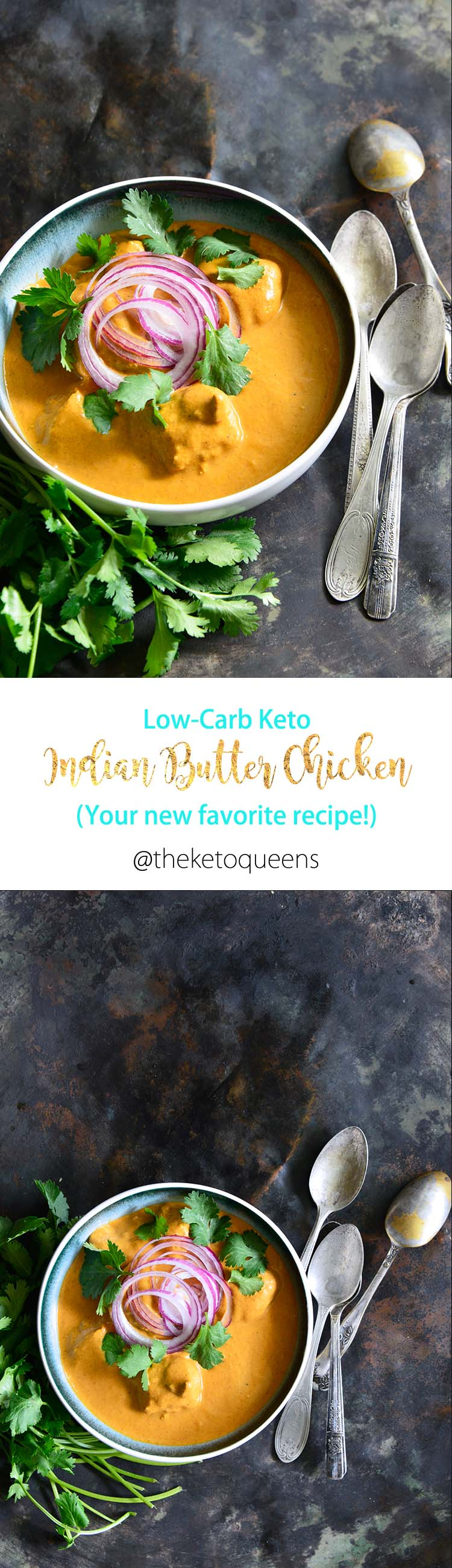 Low Carb Keto Indian Butter Chicken is every bit as rich and creamy as the original recipe. It makes for a quick and easy weeknight dinner recipe. #ketorecipes #keto #lowcarb #lowcarbrecipes #ketogenic #ketosis #butterchicken