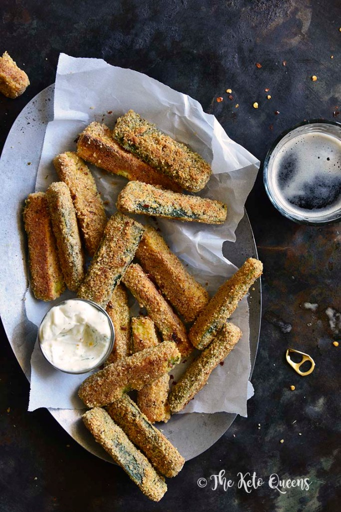 Low-Carb Keto Crispy Baked Zucchini Fries Overhead View