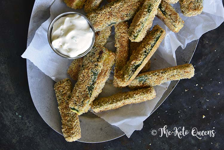 Close Up of Low-Carb Keto Crispy Baked Zucchini Fries