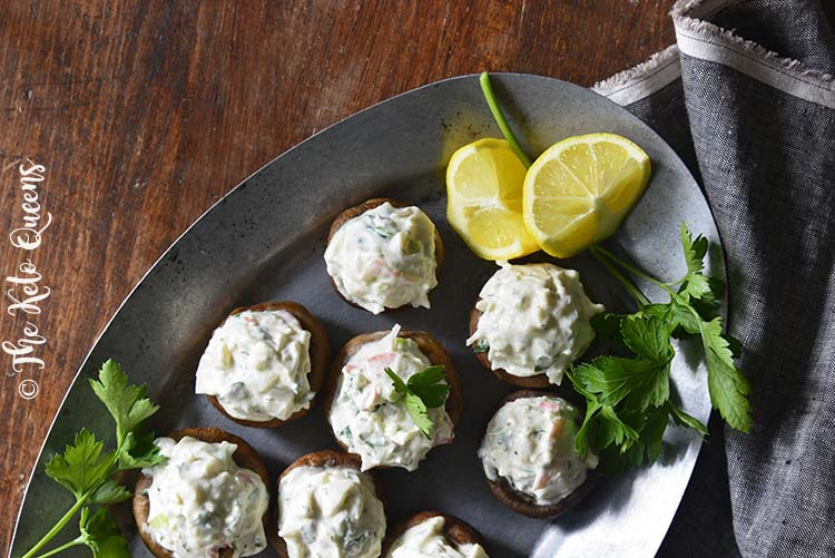 Close Up of Chilled Old Bay Crab Salad Low Carb Stuffed Mushrooms