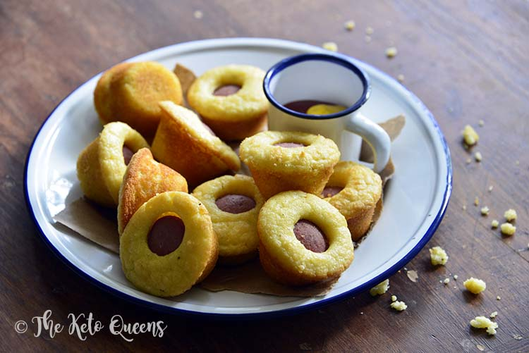 Plate of Low Carb Corn Dog Bites Recipe (Kid Friendly Keto Snack)