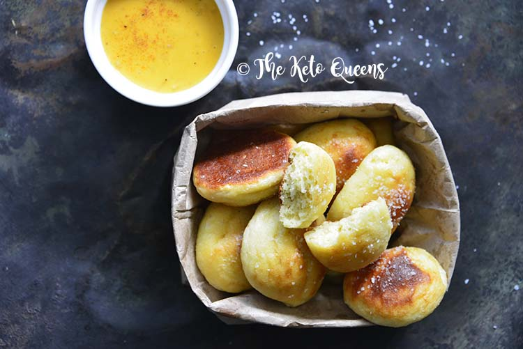 Low Carb Soft Pretzel Recipe (Keto Pretzel Bites) with Beer Cheese on Metal Background