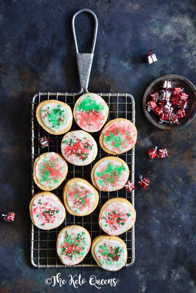 Keto Christmas Sugar Cookies with Icing on Metal Tray