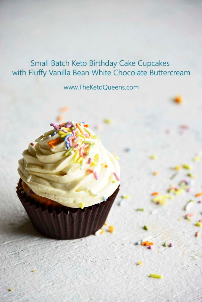 vertical image of a keto cupcake - vanilla cupcake with white chocolate buttercream frosting with sprinkles and text