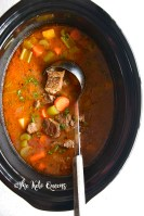 crockpot beef stew low carb in a black ceramic shell