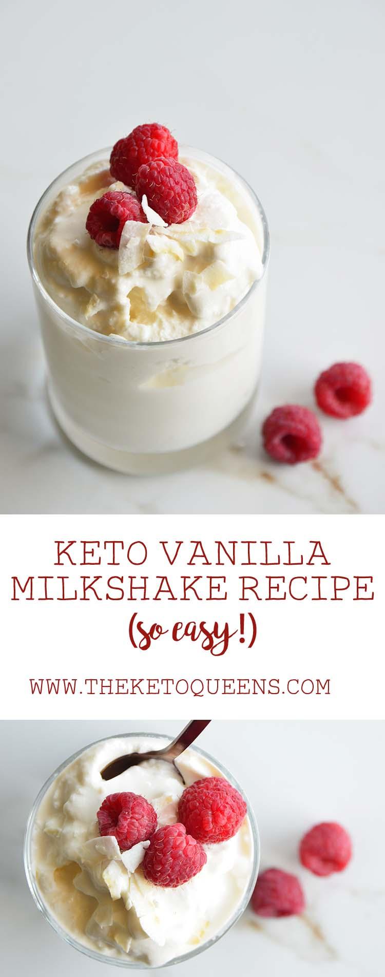 #Keto Vanilla Milkshake Recipe - rich + creamy and just 3 ingredients! #lowcarb #ketoaf