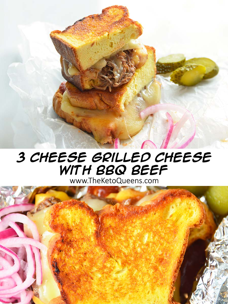 This is the best keto grilled cheese sandwich you will ever have. It's made with homemade keto white bread, 3 different types of cheeses & BBQ Beef.