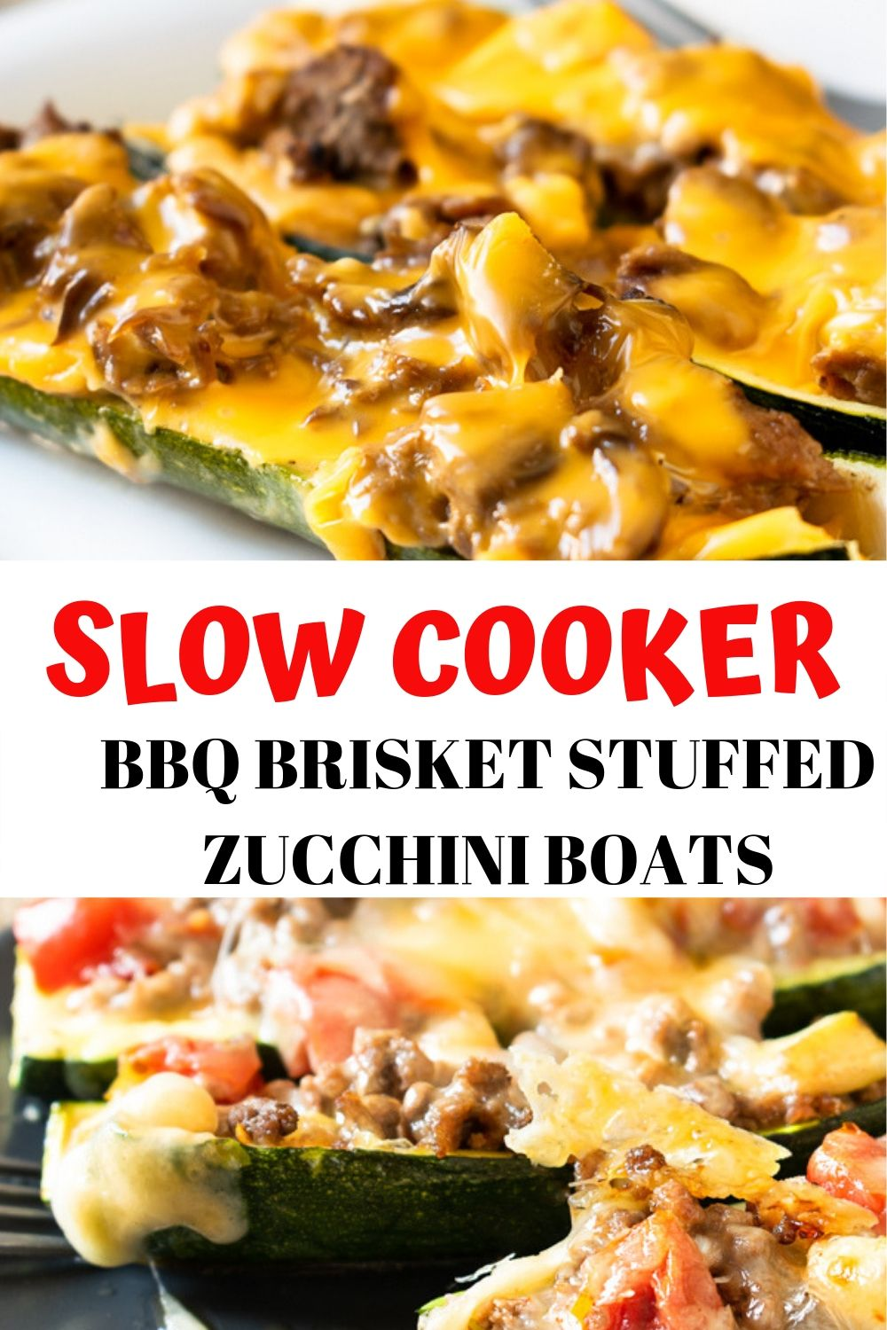 Slow Cooker BBQ Brisket Stuffed Zucchini Boats will refine dinner with it's oh so tender BBQ Beef and gooey cheese. The secret to this recipe is the delicious low carb BBQ sauce! This recipe slow cooks all day when you're at work and is finished off in the oven. Total hands on time is less than 30 minutes!