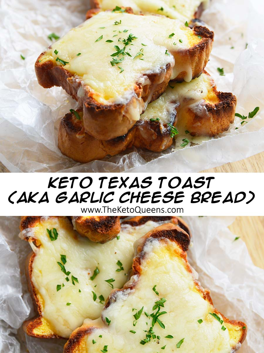Our mouthwateringLow Carb Texas Toast is the perfect addition to any dinner. It's crispy around the edges and topped with butter, garlic and gooey cheese. It's keto friendly, gluten free and will be gone way too quickly.