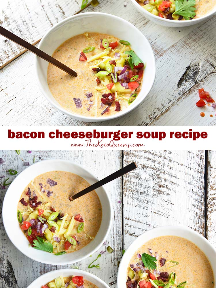 Our Easy Keto Bacon Cheeseburger Soup recipe has all the flavors of your favorite burger packed into a rich and creamy soup!