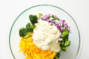 Broccoli Salad Components Ready to Stir