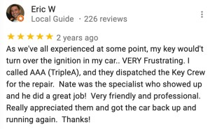 Google My Business review about The Key Crew and how they are affiliated with AAA Automobile Club of Southern California