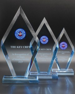 3 awards given to The Key Crew for over 15 years of locksmith services in San Diego from Automobile Club of Southern California, AAA.