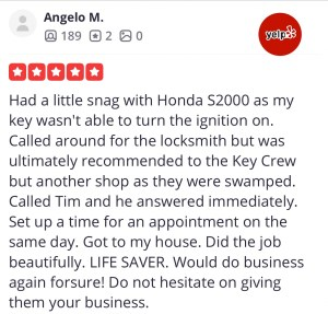 Car Key Replacement Review 1 for The Key Crew from Yelp.