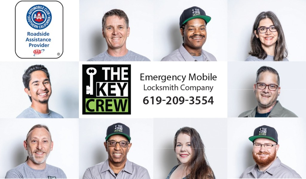 Group picture of The Key Crew Staff with AAA logo and The Key Crew logo with phone number