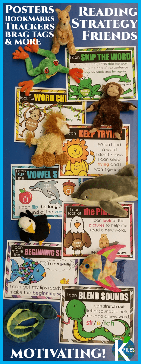 Use this Reading Strategy Friends poster set with I Can Statements, bookmarks, goal cards, brag tags and reading trackers to encourage your young readers to decode, not guess! Perfect for Guided Reading, Reader's Workshop, Daily 5 centers for your literacy program.