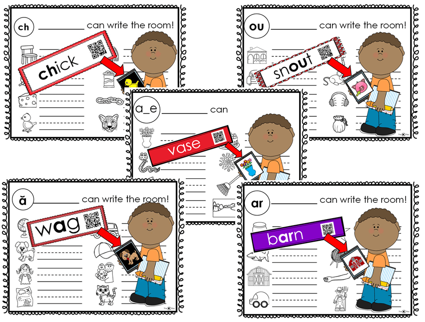 Write the Room: 38 games that reinforce the current phonics rule students are studying in their Word Study or Words Their Way groups. You will see how engaged your students are in their learning of the newest spelling pattern. This set includes all 38 Write the Room Games from the following sets: Short Vowels, Digraphs, Long Vowels, Diphthongs, R-Controlled Vowels.