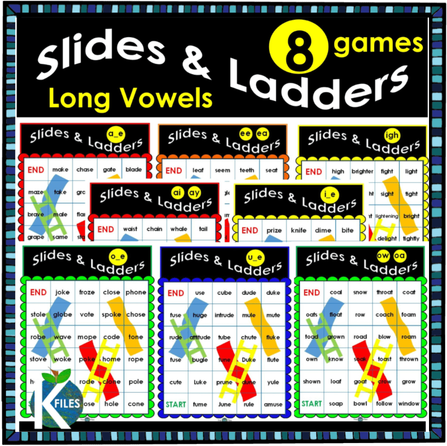 This set includes 8 Slides & Ladders games to review the many phonetic combinations the long vowel sounds. Students love this phonics game to supplement your Word Work and Spelling studies in your differentiated Word Study groups. Works perfectly with Words Their Way