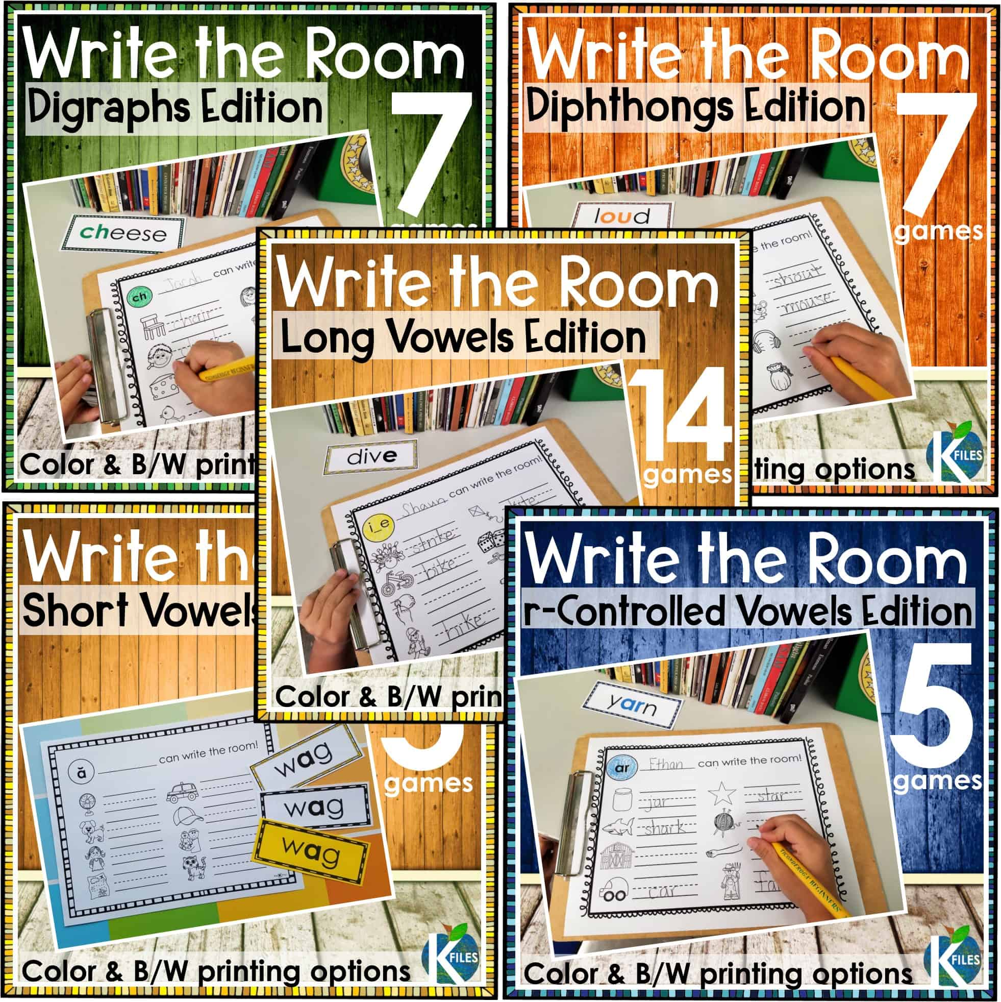 Write the Room: Phonics Edition -a great opportunity to get your students moving as they hunt the room for words that reinforce the current phonics or spelling rule they are studying in their Word Study groups, Words Their Way, or Daily 5 centers. You will see how engaged your students will be. These phonics games will be a great supplement to your spelling program.