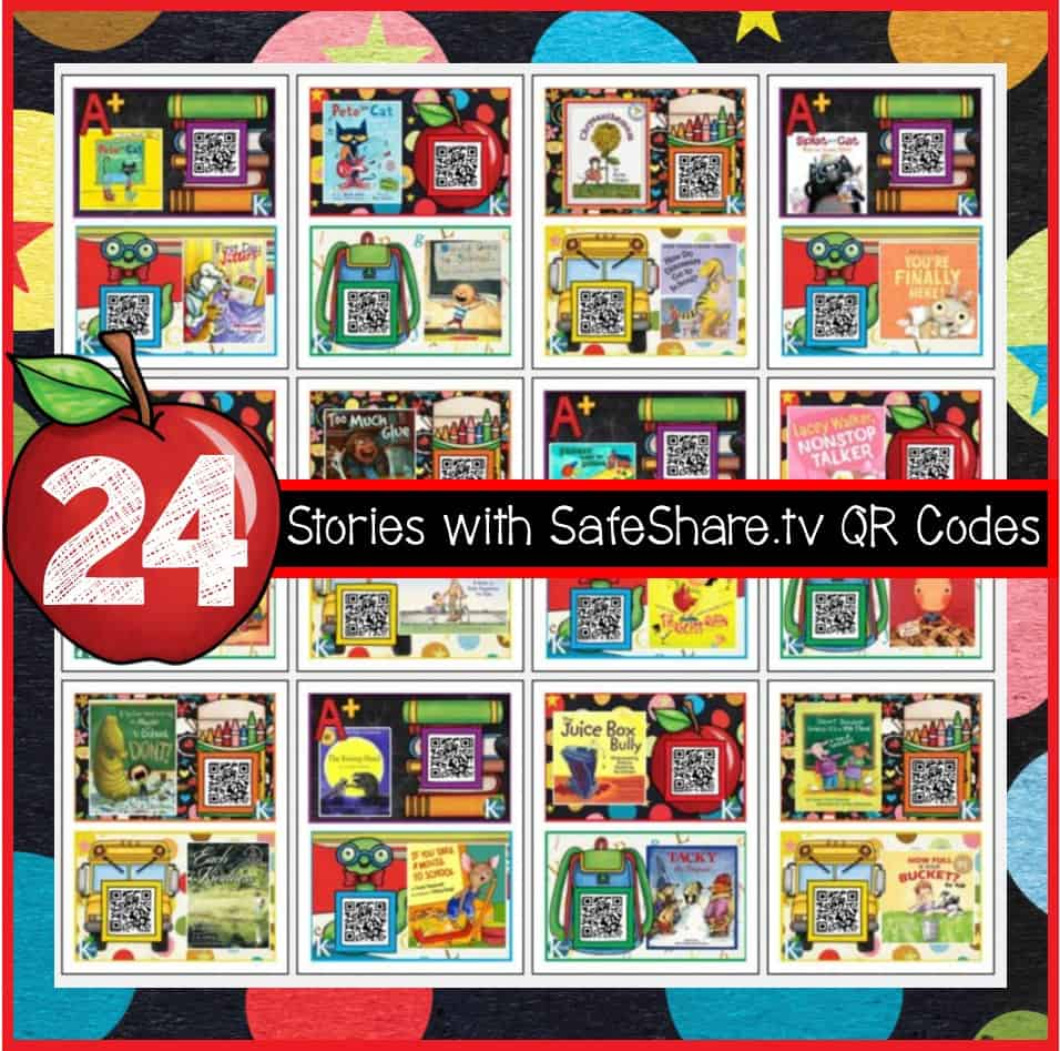 A Back to School Listening Library: Included are 24 stories with SafeShare.tv QR codes and 1 Retelling Story Map. Perfect for your literacy centers, Read to Self and Listen to Reading rotations during Daily 5 and whole group Read Alouds during Reader's Workshop.