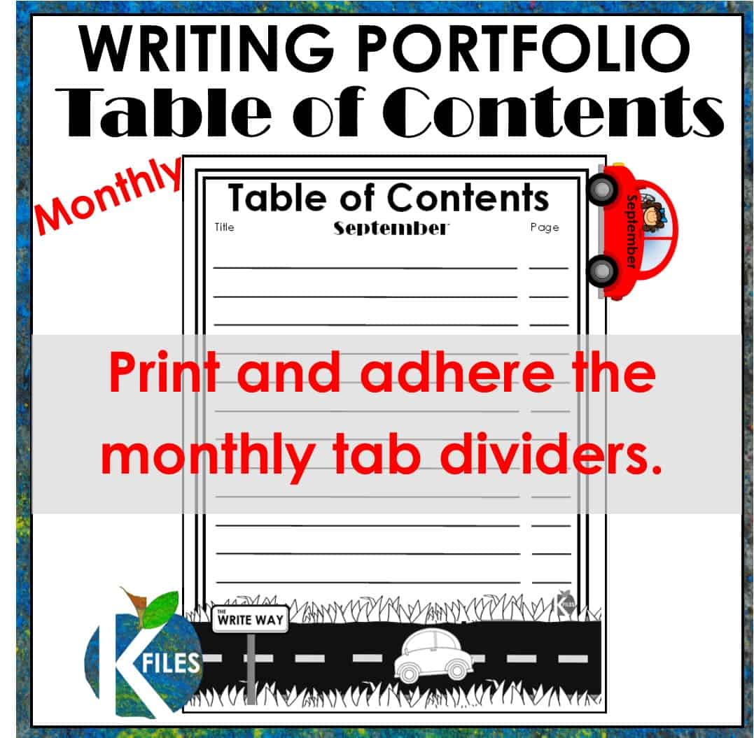 Use this Writing Portfolio to help showcase your student's writing throughout the year. Great for grades kindergarten to 6th! Includes a Writing Portfolio binder cover, spine label, Table of Contents and monthly dividers.