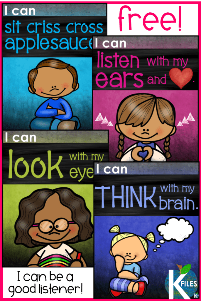 "Hang this FREE poster set front and center at your meeting area during back to school! This ""I Can Be a Good Listener"" poster set will be a visual reminder for your students to follow classroom rules with I can statements. Great tool for classroom management and behavior management! A great back to school bulletin board too!"