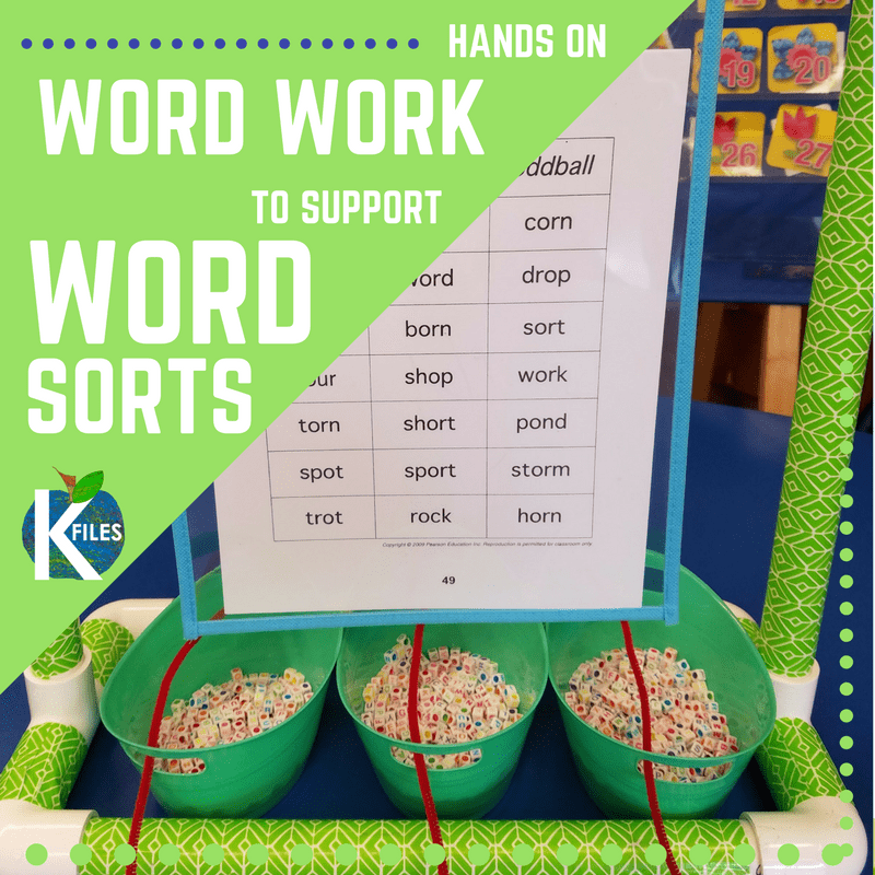 Hands on Word Work Activities to support Word Sorts for Words Their Way or any spelling and phonics program during your literacy block our Daily 5 centers.